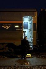 Waiting to disembark Amtrak 19