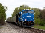 NS 8098, the Conrail heritage unit, leads roadrailer 264 east