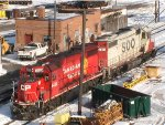 CP and SOO lashed up in Muskego Yard on snowy day