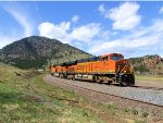"BNSF 6264 Short Manifest Coming Off the Mountain Entering ""Big Ten CUrve"""