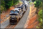 NS 9-40CW 9607 leads Linwood, NC bound manifest 156 up the R Line