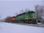 121229007 On a snowy day, eastbound BNSF 1846 & 1692 wait for a meet in the Wayzata passing siding