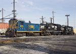 CSX SW1001 #1123, NS GP38-2s #5287 and #5290