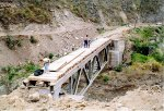Crossing a rail bridge under construction