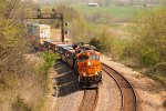 BNSF 7900 heads wb with a stack train in tow,