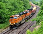 BNSF 7844 leads a wb stack train around the s turns.