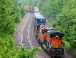 BNSF 5124 shove on this wb stack train.