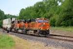 BNSF 7212 is on the lead of a hot stack train.