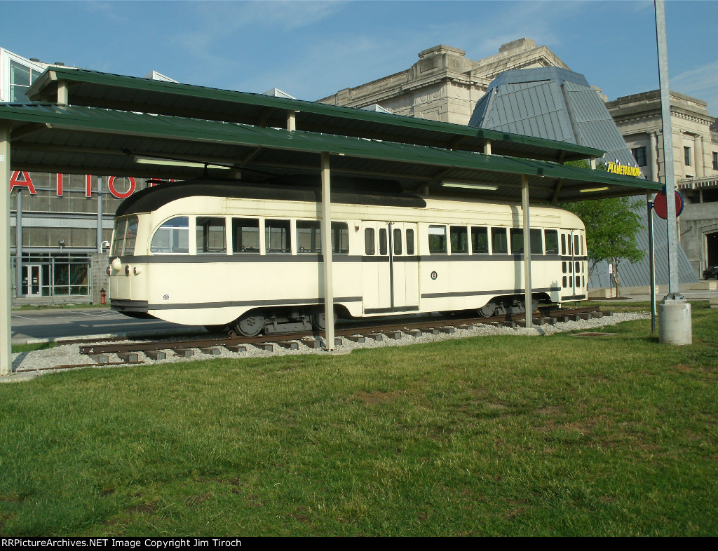 A Kansas City PCC car sits on Display at Union Station