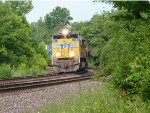 UP 8404 Leads ILADU-12 Eastbound Around the Curve, and Through the Bushes
