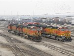 BNSF power waits on the 5 and 6 Leads for assignment