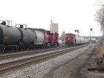 Empty ethanol train 643 heads towards the yard on Main 3 as 298 sits on Main 2