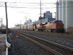 BA1 rolls north up the B&O Siding with an autorack train for BNSF