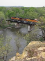 BNSF 4384 & 4655 roll west over the Rock River with Seattle bound S-CHCSEA