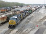 CSX 98 leads Q645 out of track C5 in the E Yard as they start towards departing Barr Yard