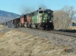 BN 9220 SD60M hauling coal drag back to the coal mines