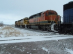 BNSF 7159 and BNSF 6736 leaving town