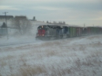 MRL 7555 SD45R crawling through a snowstorm