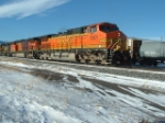 BNSF 5501 DASH 9 making its way through the yard