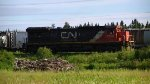 """Power for the """"algoma central"""" southbound freight of the day."""