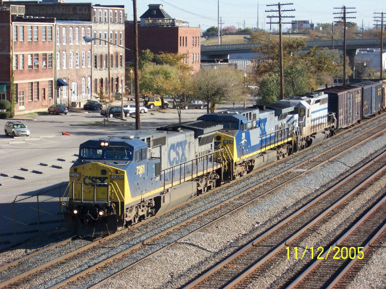 CSX 7361 leads southbound in downtown B'ham