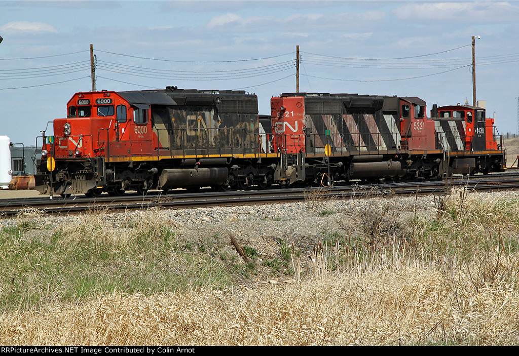 CN 6000 & 5321 wait their next assignment at CN's Scotford yard
