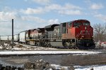 CN 8841 comes off the Camrose Sub and heads east through Clover Bar