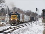 Beginning its trip to Lansing, D707-04 splits the eastbound Seymour signals