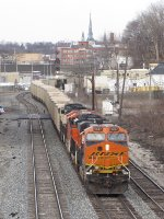 Just past Godfrey Ave, BNSF 6347 leads E945-08 west through Sunnyside