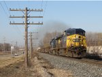Led by CSX 20, Q326-14 rolls east on the Grand Rapids Sub