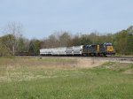 The engines of D707-22 work hard as they lift the train out of the Thornapple River valley