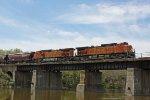 BNSF 4024 leads the grain train across the Rock River bridge
