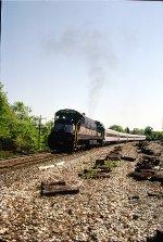 CR U34CH 3367 leaving station WB