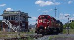 CP 5690, leads CP Train 450 as it passes in front of the 'XO' Tower in Mechanicville Ny
