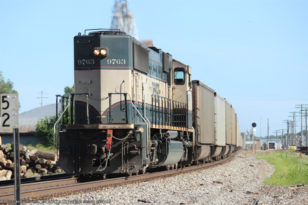 BNSF 9763 brings up dpu.