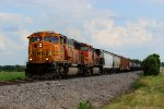 BNSF 9999 heads a north bound freight toward old monroe mo.