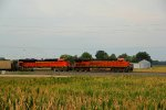 BNSF 6366 leads a loaded machens coal load.