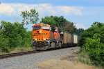 BNSF 6395 leads this empty coal out of storm clouds.