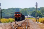 BNSF 7368 waits out tk work in elsberry mo.