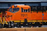 Close in Shot of the Cab of BNSF 7011 as the Afternoon Sun Reflects off Her Very, Very Brand New Swoosh Logo Paint :)))