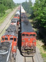 CN 2453, BCOL 4642 & BCOL 4623  head west into Taschereau Yard