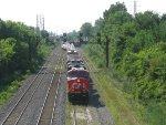 CN eastbound snaking out of Taschereau Yard