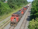 CN transfer heads west through Lachine with three Geeps
