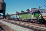 SD45's in (BN) Cascade Green, (GN) Sky Blue and (NP) black and gold on EL about Aug., 1971