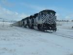 MRL 4314 SD70ACe helping coal drag over Bozeman Pass