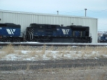 MRL 4301 SD70ACe sitting in a winter storm
