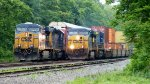 CSX WB Intermodal meets CSX WB Autorack