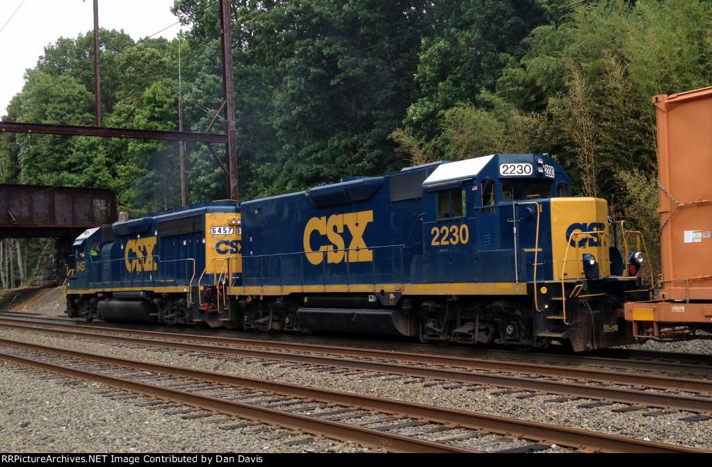 CSX Road Slug 2230 ex C&O GP35 trails on Q706-02