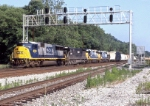CSX 8733 eastbound on Q416 passing the new signal bridge