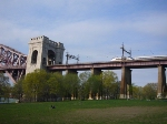 #88 approaching the Hell Gate Bridge's main arch span